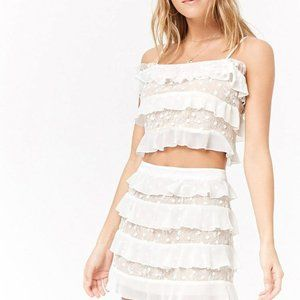 NWT Embroidered Mesh Top